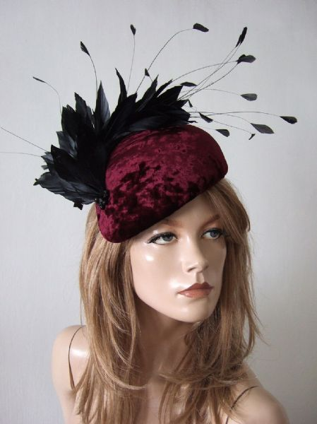"Black Burgundy Velvet + Feather Beret Headpiece Hat ""Jan"" Winter Mother of the Bride Hat, Fascinator"
